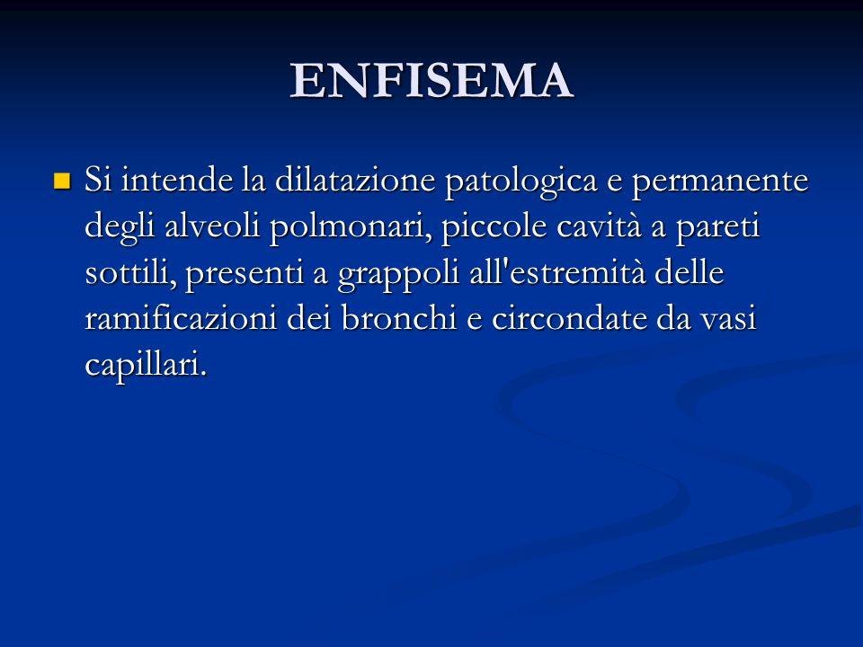 ENFISEMA Si intende la dilatazione patologica e permanente degli alveoli polmonari, piccole cavità a pareti sottili, presenti a grappoli all'estremità
