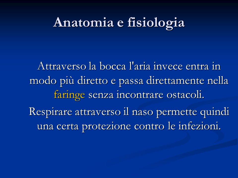 Anatomia e fisiologia Attraverso la bocca l'aria invece entra in modo più diretto e passa direttamente nella faringe senza incontrare ostacoli. Respir