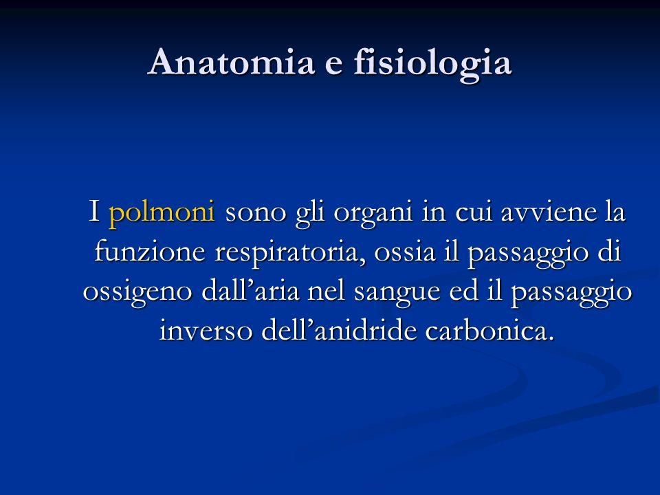 Anatomia e fisiologia I polmoni sono gli organi in cui avviene la funzione respiratoria, ossia il passaggio di ossigeno dallaria nel sangue ed il pass