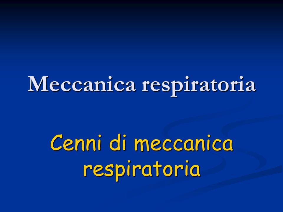 Meccanica respiratoria Cenni di meccanica respiratoria