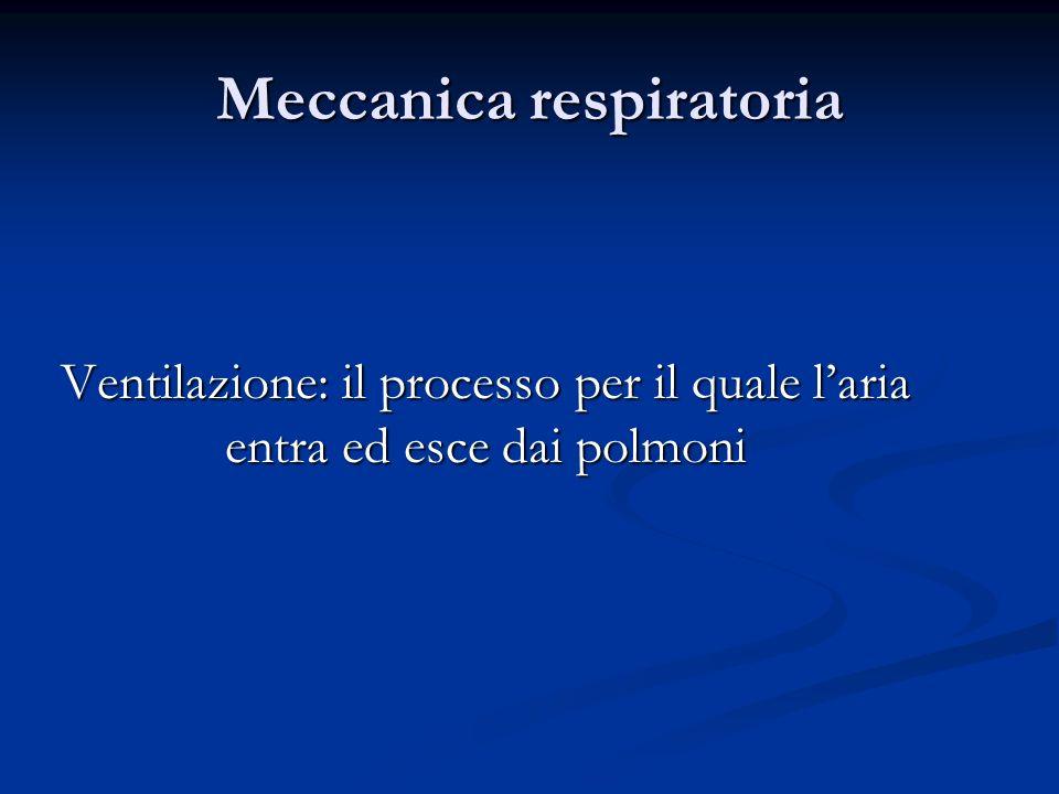 Meccanica respiratoria Ventilazione: il processo per il quale laria entra ed esce dai polmoni