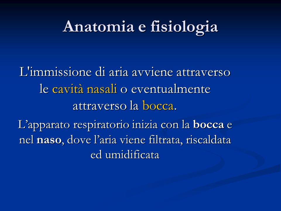 Anatomia e fisiologia L'immissione di aria avviene attraverso le cavità nasali o eventualmente attraverso la bocca. Lapparato respiratorio inizia con