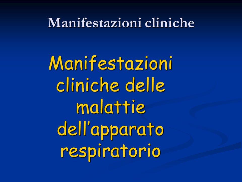 Manifestazioni cliniche Manifestazioni cliniche delle malattie dellapparato respiratorio