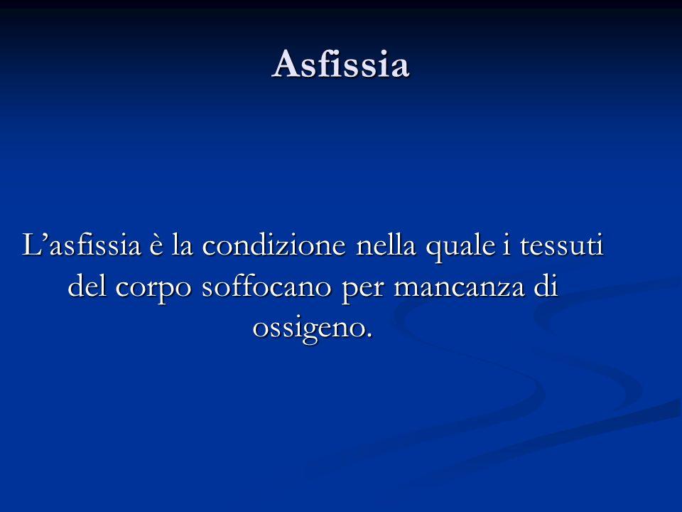 Asfissia Lasfissia è la condizione nella quale i tessuti del corpo soffocano per mancanza di ossigeno.