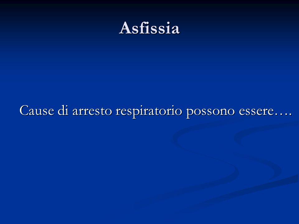 Asfissia Cause di arresto respiratorio possono essere….