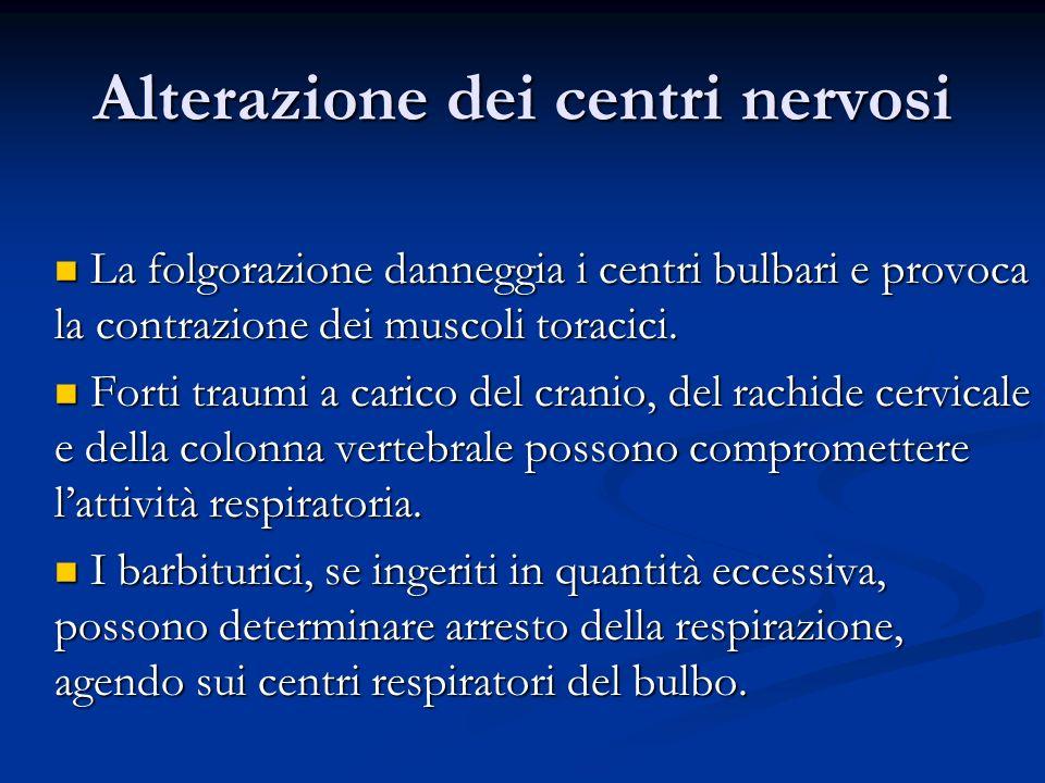 Alterazione dei centri nervosi La folgorazione danneggia i centri bulbari e provoca la contrazione dei muscoli toracici. La folgorazione danneggia i c