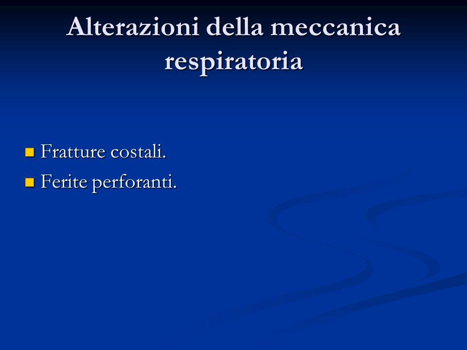 Alterazioni della meccanica respiratoria Fratture costali. Fratture costali. Ferite perforanti. Ferite perforanti.