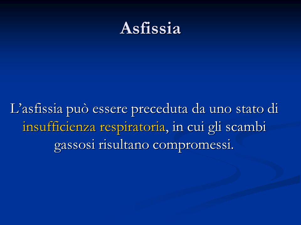 Asfissia Lasfissia può essere preceduta da uno stato di insufficienza respiratoria, in cui gli scambi gassosi risultano compromessi.