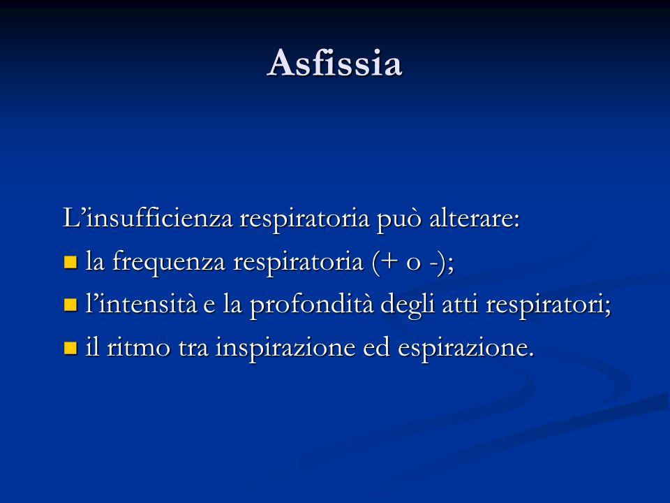Asfissia Linsufficienza respiratoria può alterare: la frequenza respiratoria (+ o -); la frequenza respiratoria (+ o -); lintensità e la profondità de
