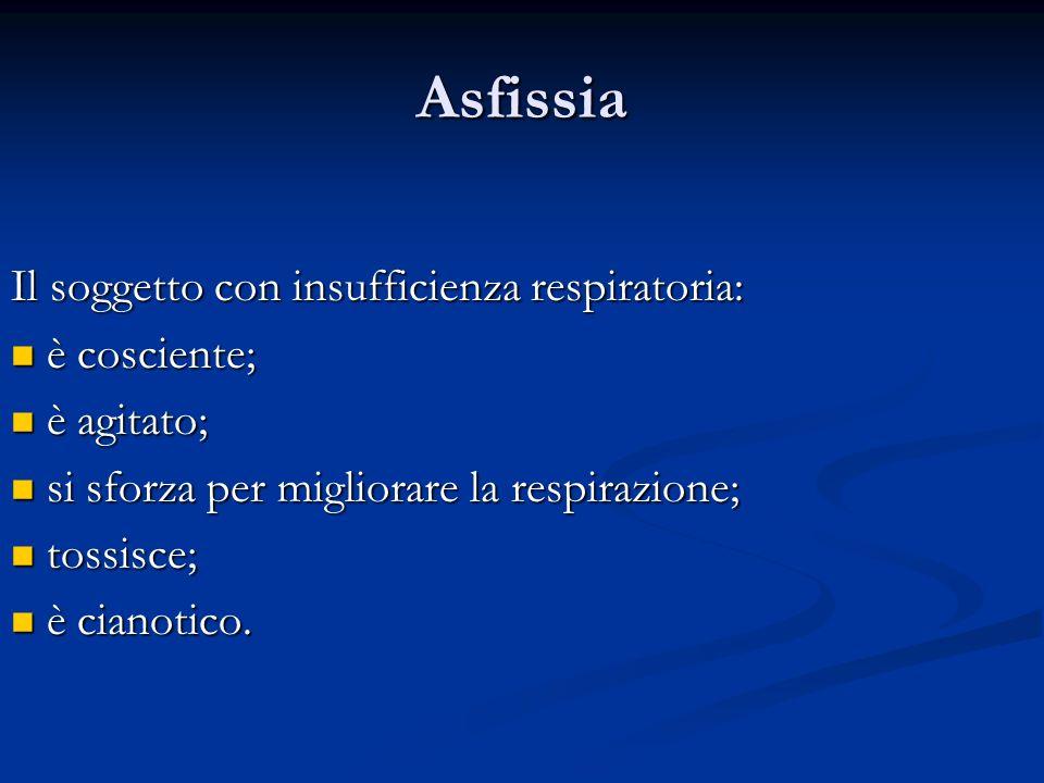 Asfissia Il soggetto con insufficienza respiratoria: è cosciente; è cosciente; è agitato; è agitato; si sforza per migliorare la respirazione; si sfor