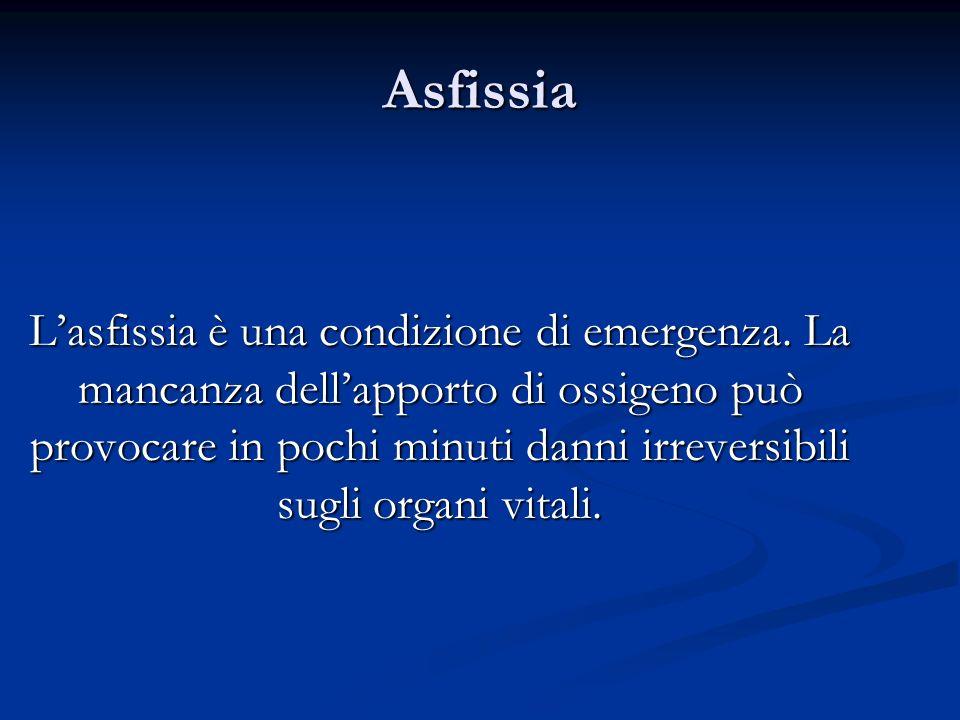 Asfissia Lasfissia è una condizione di emergenza. La mancanza dellapporto di ossigeno può provocare in pochi minuti danni irreversibili sugli organi v