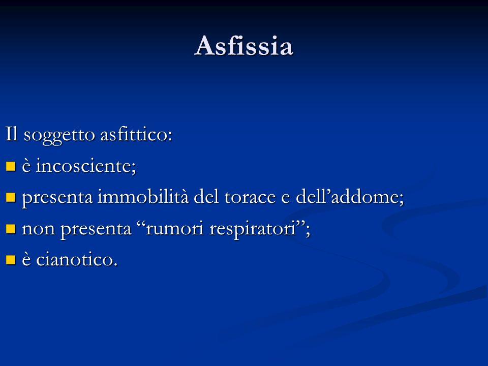 Asfissia Il soggetto asfittico: è incosciente; è incosciente; presenta immobilità del torace e delladdome; presenta immobilità del torace e delladdome