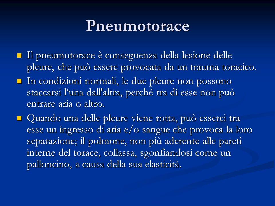 Pneumotorace Il pneumotorace è conseguenza della lesione delle pleure, che può essere provocata da un trauma toracico. Il pneumotorace è conseguenza d