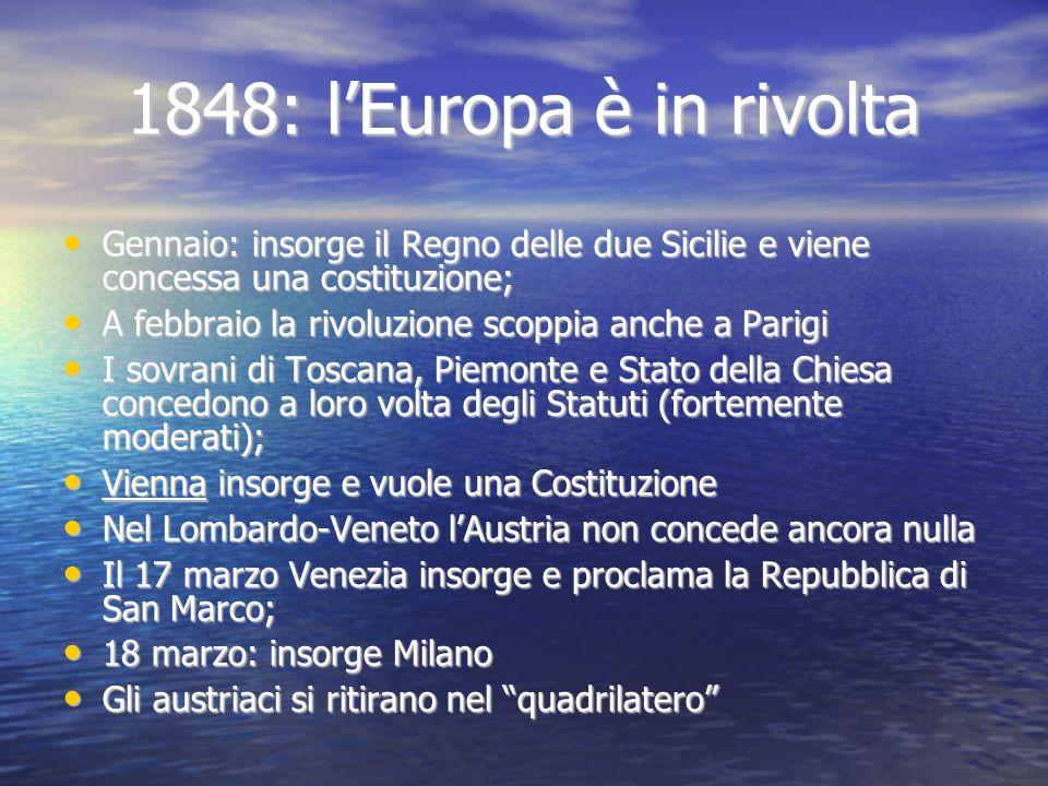 1848: lEuropa è in rivolta Gennaio: insorge il Regno delle due Sicilie e viene concessa una costituzione; Gennaio: insorge il Regno delle due Sicilie