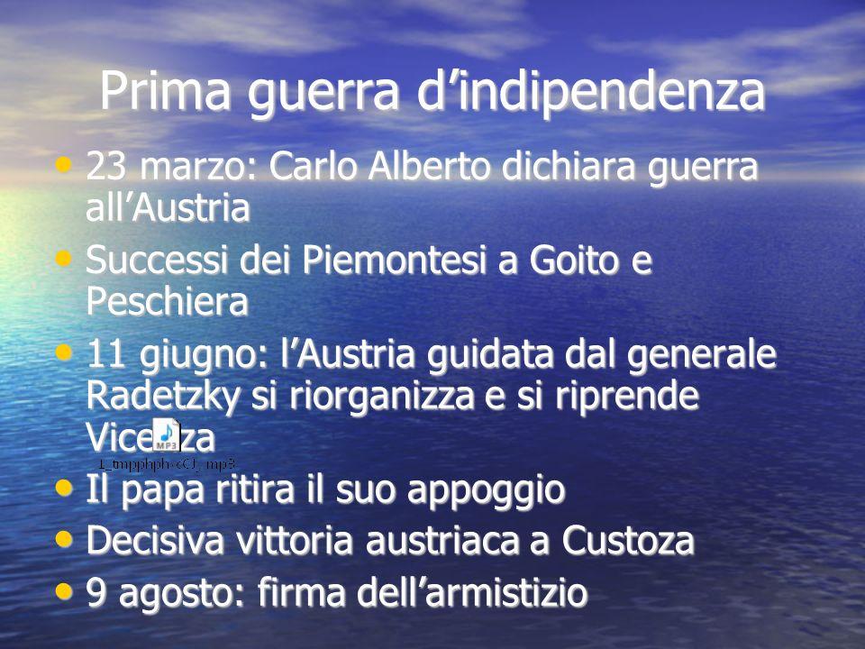 Prima guerra dindipendenza 23 marzo: Carlo Alberto dichiara guerra allAustria 23 marzo: Carlo Alberto dichiara guerra allAustria Successi dei Piemonte
