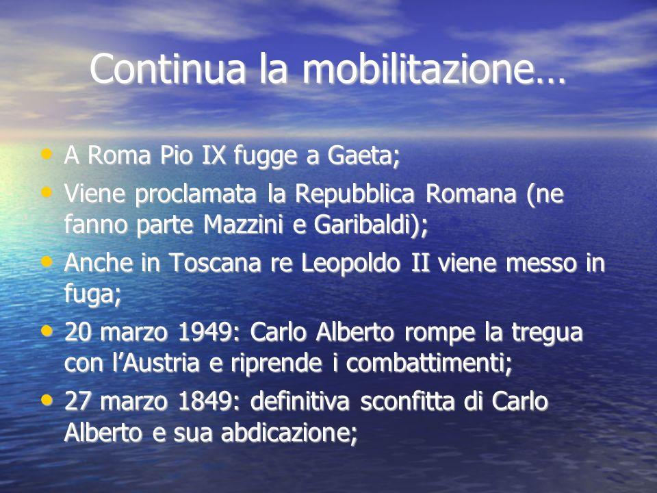 Continua la mobilitazione… A Roma Pio IX fugge a Gaeta; A Roma Pio IX fugge a Gaeta; Viene proclamata la Repubblica Romana (ne fanno parte Mazzini e G