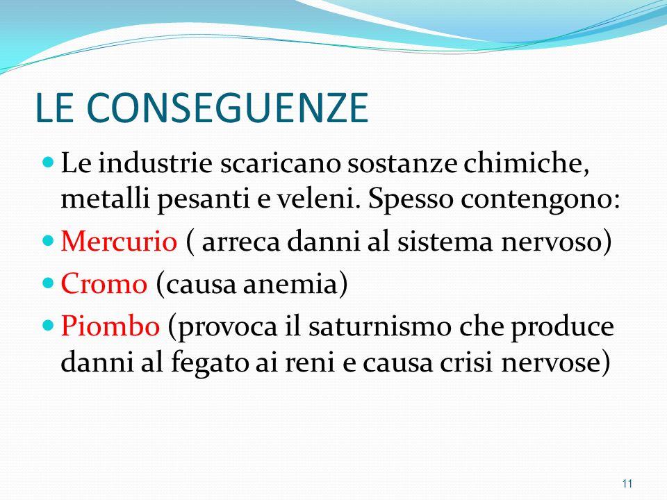 LE CONSEGUENZE Le industrie scaricano sostanze chimiche, metalli pesanti e veleni. Spesso contengono: Mercurio ( arreca danni al sistema nervoso) Crom