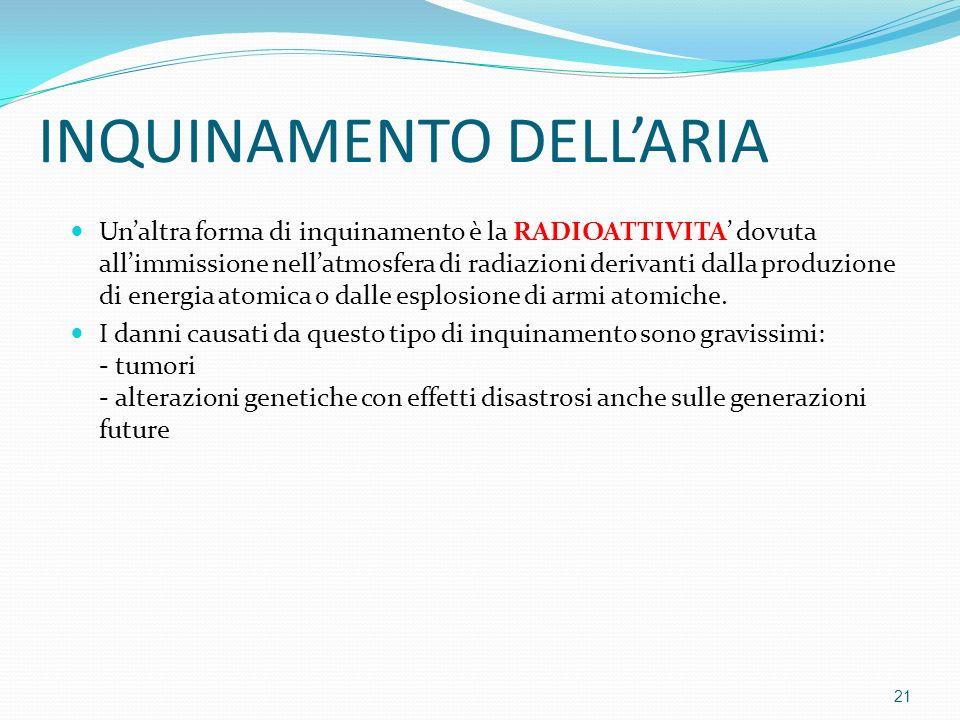 Unaltra forma di inquinamento è la RADIOATTIVITA dovuta allimmissione nellatmosfera di radiazioni derivanti dalla produzione di energia atomica o dall