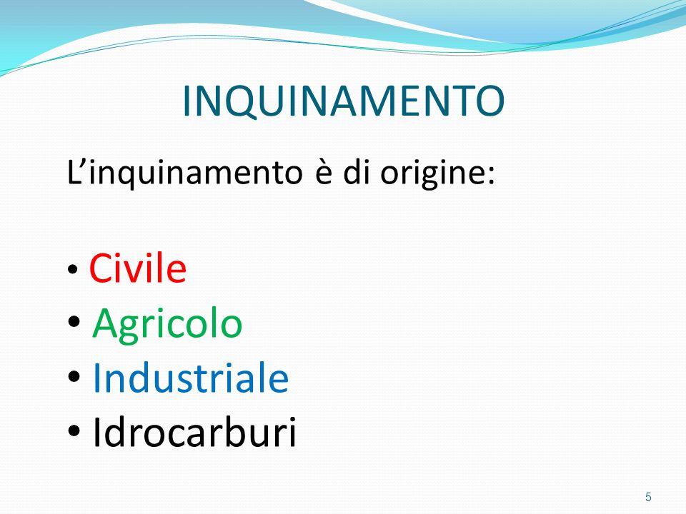 INQUINAMENTO Linquinamento è di origine: Civile Agricolo Industriale Idrocarburi 5