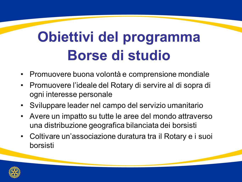 Obiettivi del programma Borse di studio Promuovere buona volontà e comprensione mondiale Promuovere lideale del Rotary di servire al di sopra di ogni