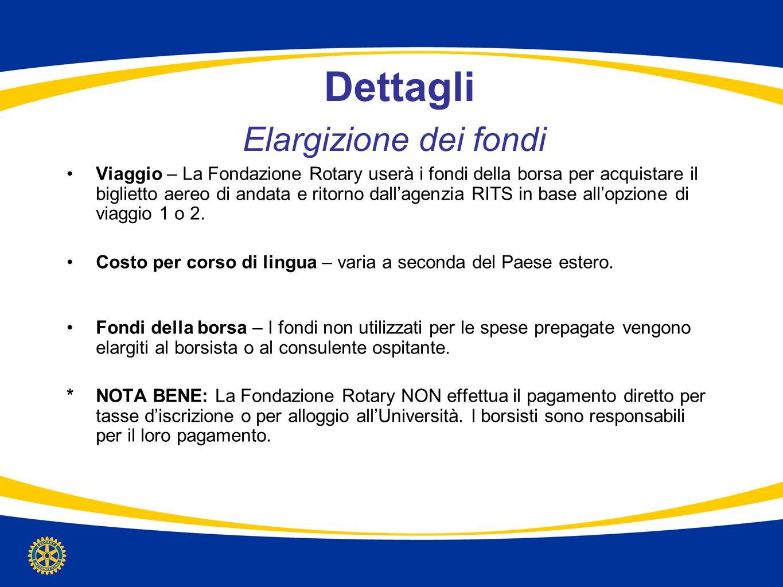 Dettagli Elargizione dei fondi Viaggio – La Fondazione Rotary userà i fondi della borsa per acquistare il biglietto aereo di andata e ritorno dallagen