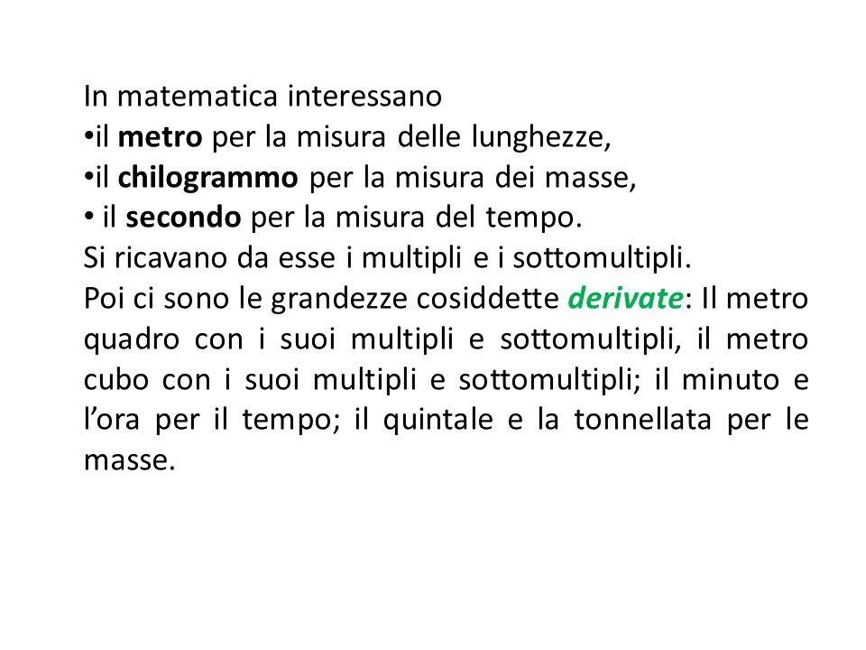 In matematica interessano il metro per la misura delle lunghezze, il chilogrammo per la misura dei masse, il secondo per la misura del tempo. Si ricav