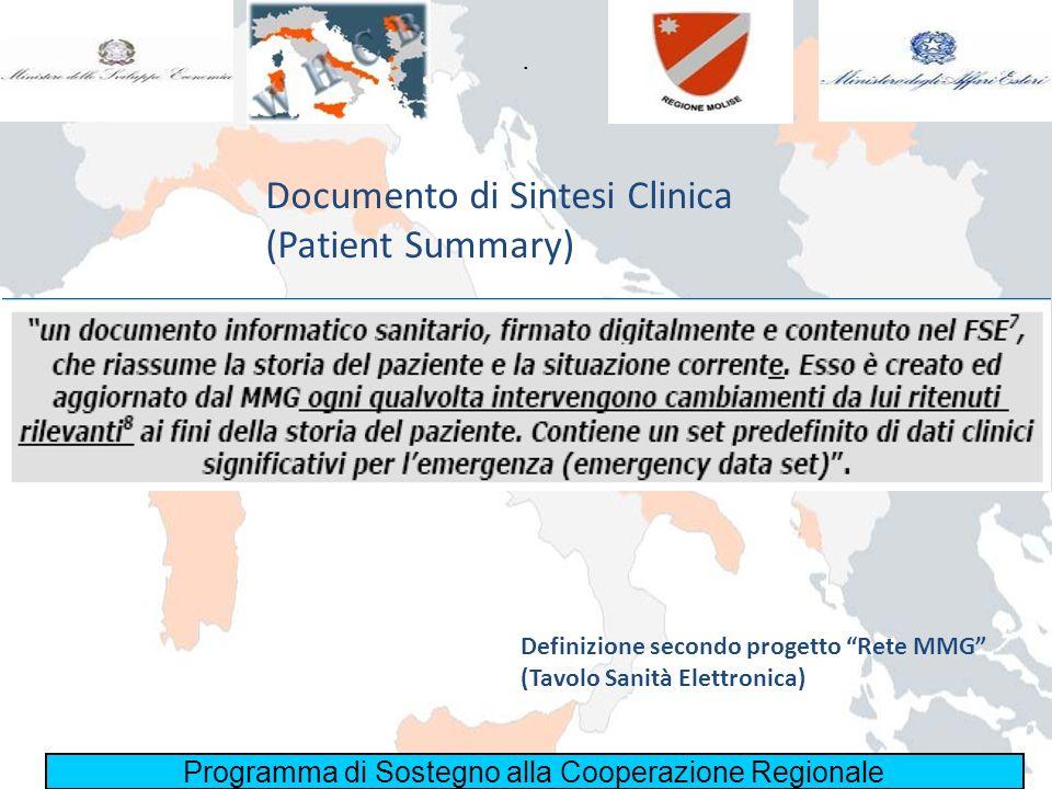 Programma di Sostegno alla Cooperazione Regionale. Documento di Sintesi Clinica (Patient Summary) Definizione secondo progetto Rete MMG (Tavolo Sanità