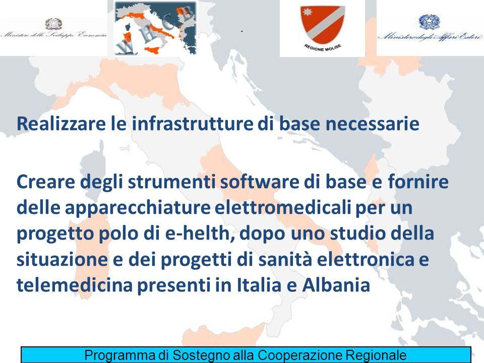 Realizzare le infrastrutture di base necessarie Programma di Sostegno alla Cooperazione Regionale. Creare degli strumenti software di base e fornire d