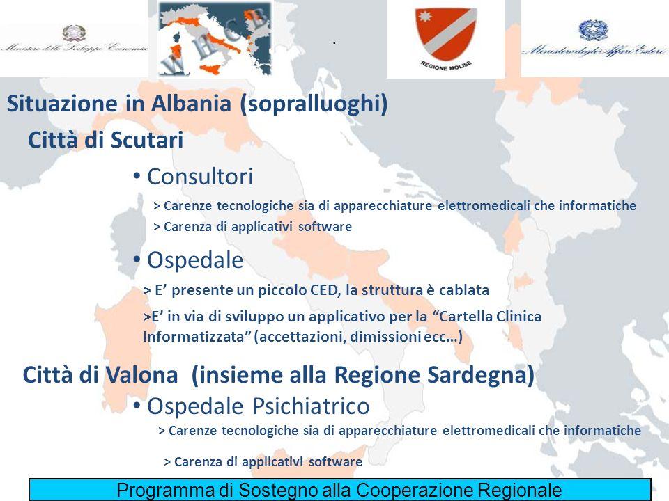 Programma di Sostegno alla Cooperazione Regionale. Situazione in Albania (sopralluoghi) Città di Scutari Consultori Ospedale Città di Valona (insieme