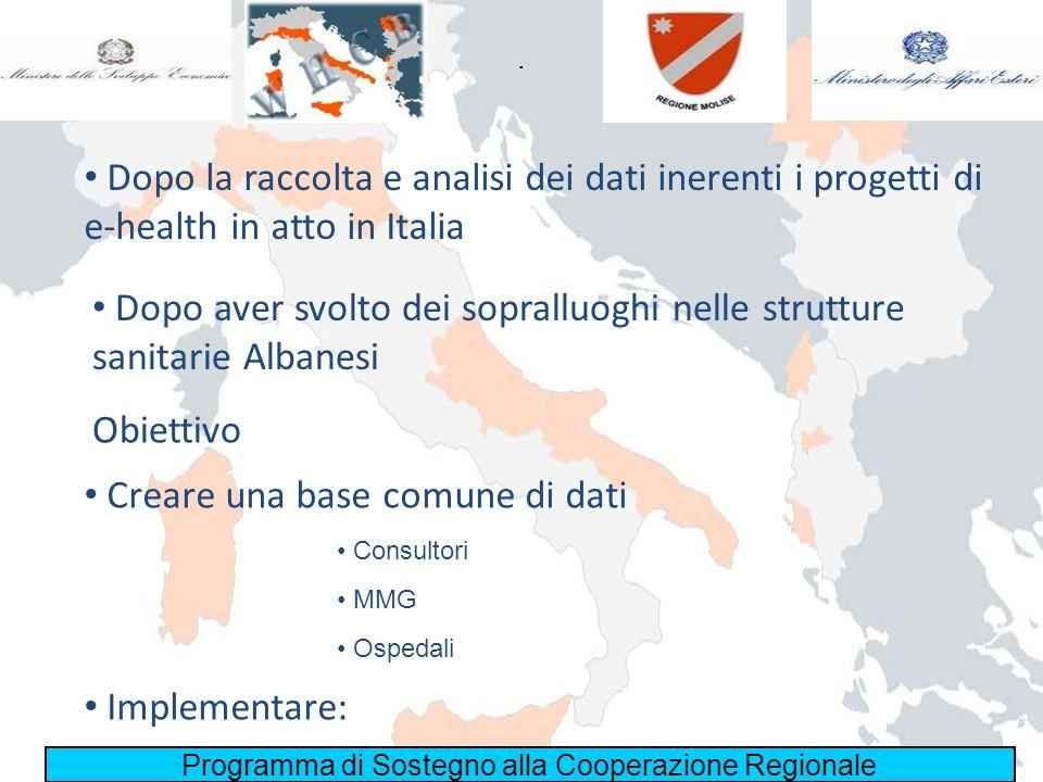 Programma di Sostegno alla Cooperazione Regionale. Dopo la raccolta e analisi dei dati inerenti i progetti di e-health in atto in Italia Dopo aver svo