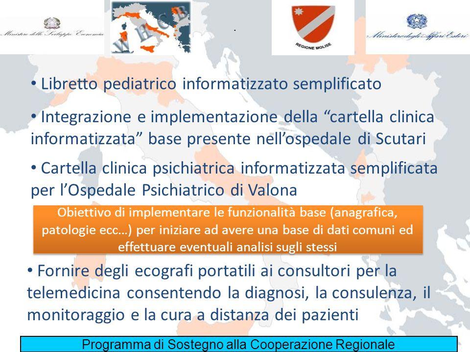Programma di Sostegno alla Cooperazione Regionale. Libretto pediatrico informatizzato semplificato Integrazione e implementazione della cartella clini