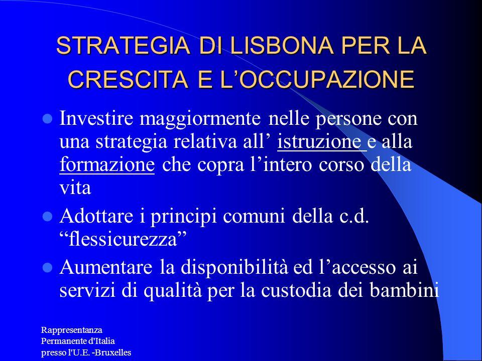 Rappresentanza Permanente d'Italia presso l'U.E. -Bruxelles STRATEGIA DI LISBONA PER LA CRESCITA E LOCCUPAZIONE Investire maggiormente nelle persone c