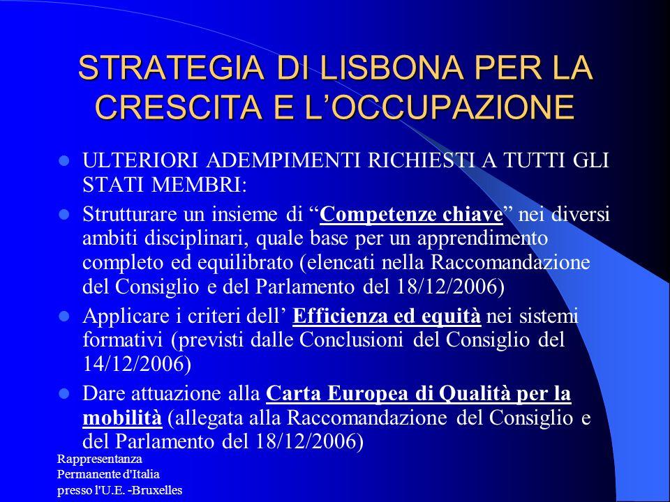 Rappresentanza Permanente d'Italia presso l'U.E. -Bruxelles STRATEGIA DI LISBONA PER LA CRESCITA E LOCCUPAZIONE ULTERIORI ADEMPIMENTI RICHIESTI A TUTT