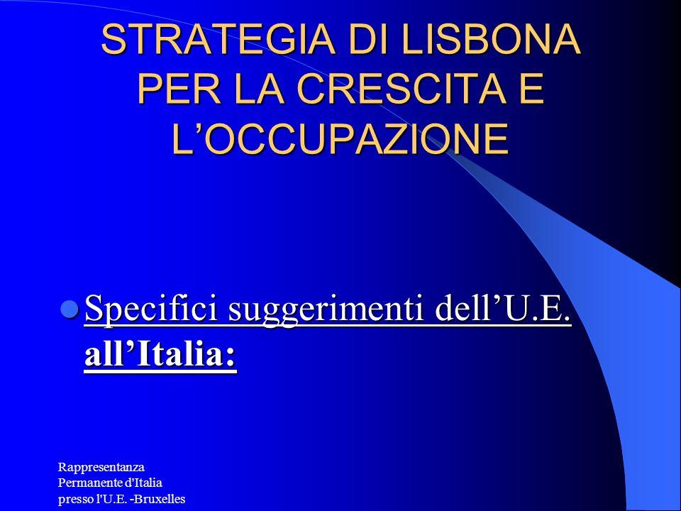 Rappresentanza Permanente d'Italia presso l'U.E. -Bruxelles STRATEGIA DI LISBONA PER LA CRESCITA E LOCCUPAZIONE Specifici suggerimenti dellU.E. allIta