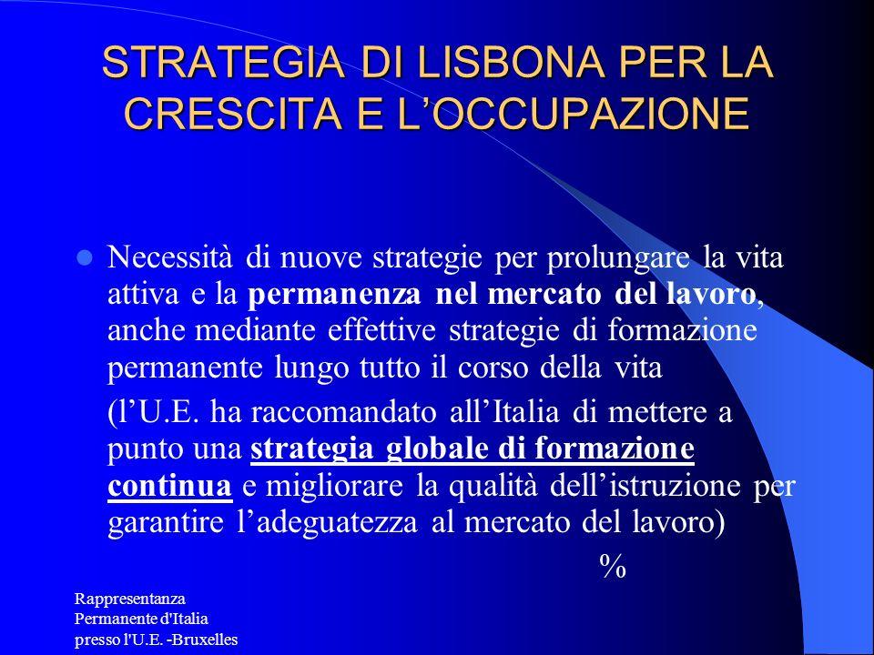 Rappresentanza Permanente d'Italia presso l'U.E. -Bruxelles STRATEGIA DI LISBONA PER LA CRESCITA E LOCCUPAZIONE Necessità di nuove strategie per prolu
