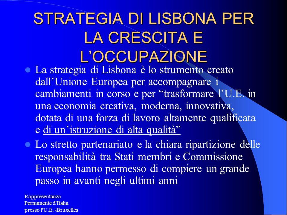 Rappresentanza Permanente d'Italia presso l'U.E. -Bruxelles STRATEGIA DI LISBONA PER LA CRESCITA E LOCCUPAZIONE La strategia di Lisbona è lo strumento