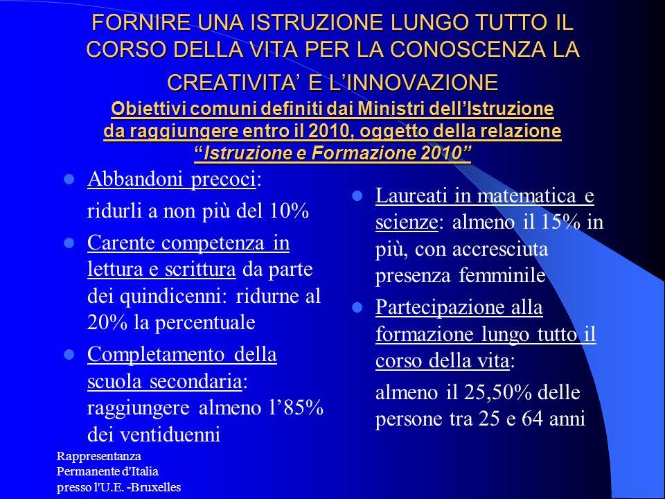 Rappresentanza Permanente d'Italia presso l'U.E. -Bruxelles FORNIRE UNA ISTRUZIONE LUNGO TUTTO IL CORSO DELLA VITA PER LA CONOSCENZA LA CREATIVITA E L