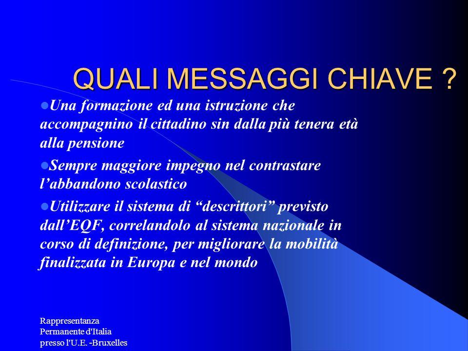 Rappresentanza Permanente d'Italia presso l'U.E. -Bruxelles QUALI MESSAGGI CHIAVE ? Una formazione ed una istruzione che accompagnino il cittadino sin