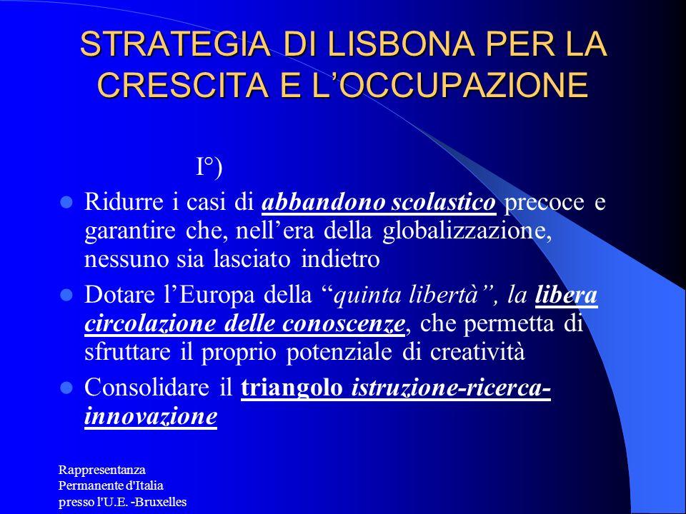 Rappresentanza Permanente d'Italia presso l'U.E. -Bruxelles STRATEGIA DI LISBONA PER LA CRESCITA E LOCCUPAZIONE I°) Ridurre i casi di abbandono scolas