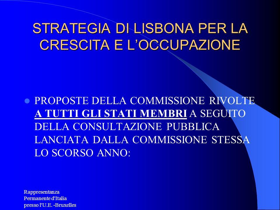 Rappresentanza Permanente d'Italia presso l'U.E. -Bruxelles STRATEGIA DI LISBONA PER LA CRESCITA E LOCCUPAZIONE PROPOSTE DELLA COMMISSIONE RIVOLTE A T