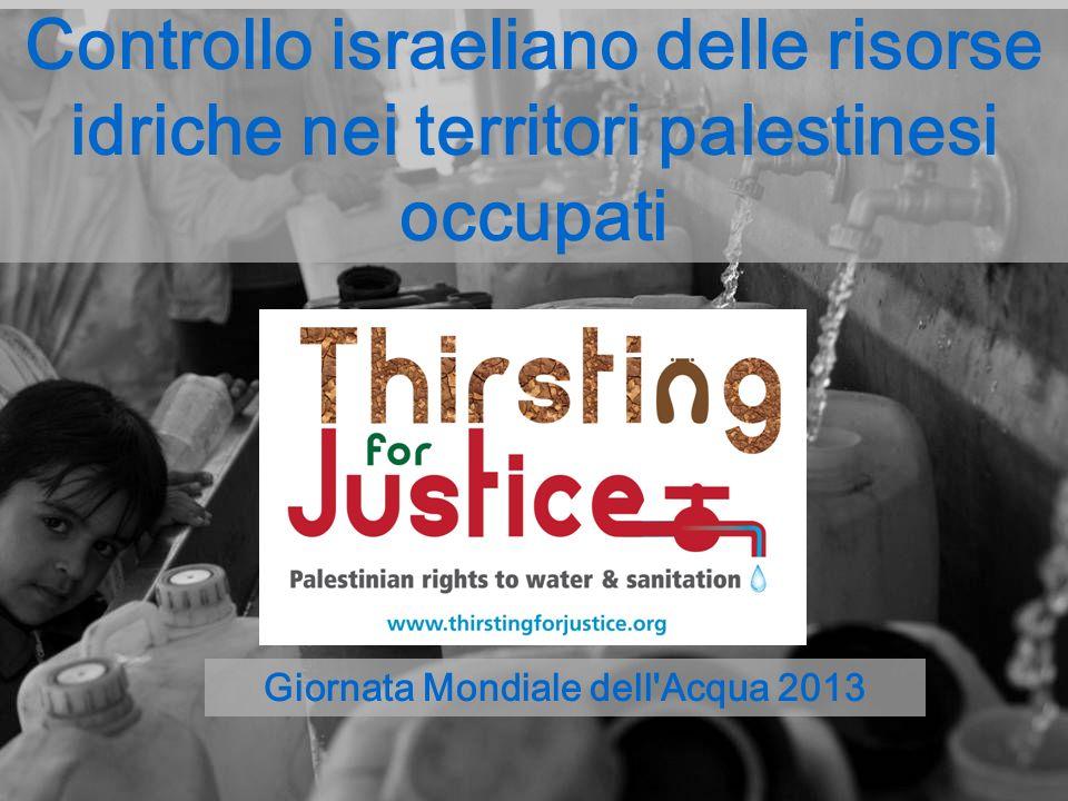 Controllo israeliano delle risorse idriche nei territori palestinesi occupati Giornata Mondiale dell'Acqua 2013