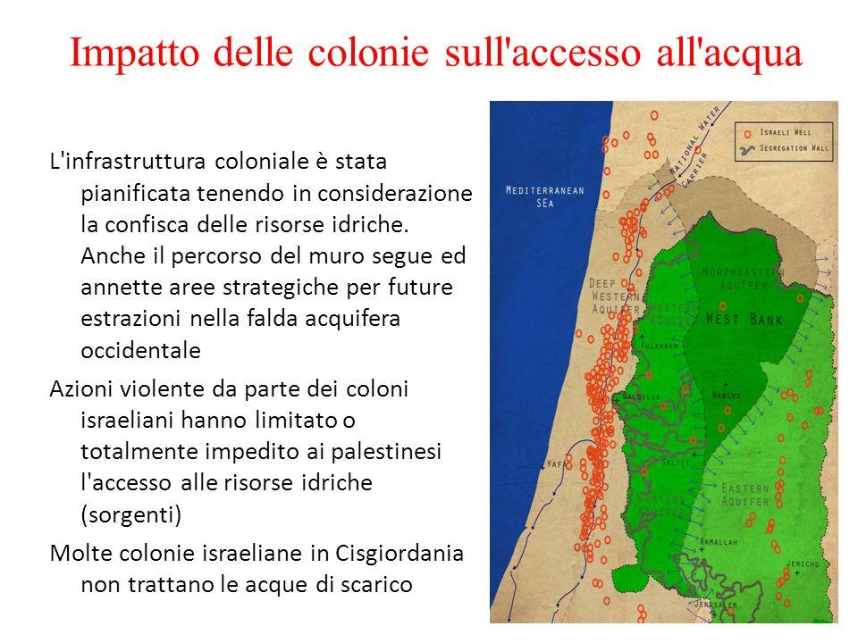 Impatto delle colonie sull'accesso all'acqua L'infrastruttura coloniale è stata pianificata tenendo in considerazione la confisca delle risorse idrich