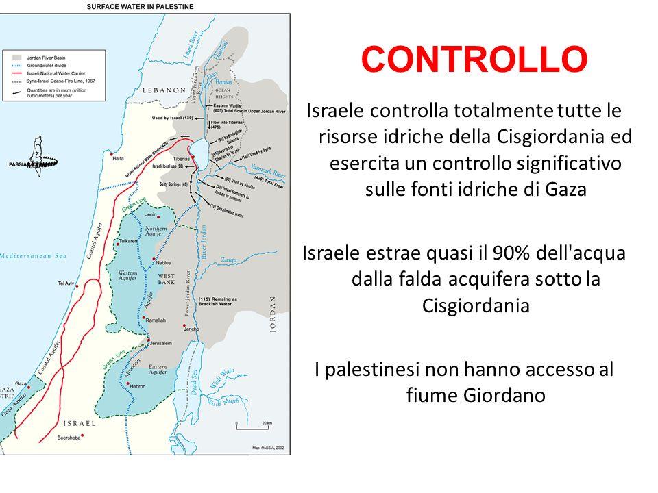 Israele controlla totalmente tutte le risorse idriche della Cisgiordania ed esercita un controllo significativo sulle fonti idriche di Gaza Israele es