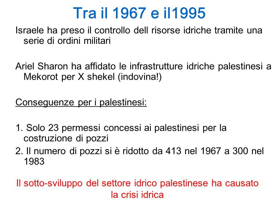 1995 Oslo II: I palestinesi dipendono sempre più da Israele Accordo ad Interim = 5 anni Falda acquifera Allocazione annua per Israele Allocazione annua per i palestinesi Occidentale 340 MMC (94%)22 MMC (6%) Nord-orientale 103 MMC (71%)42 MMC (29%) Orientale 40 MMC (42%)54 MMC (58%)(+ 78 per bisogni futuri) Totale483 MMC (o 80 % del totale) 118 MCM (o 20% del totale) Le quantità decise da Oslo non sono state rispettate.