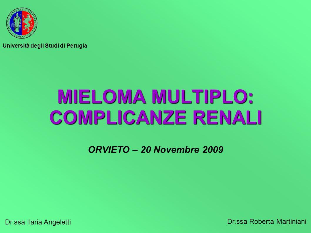 MIELOMA MULTIPLO: COMPLICANZE RENALI Dr.ssa Ilaria Angeletti Dr.ssa Roberta Martiniani ORVIETO – 20 Novembre 2009 Università degli Studi di Perugia