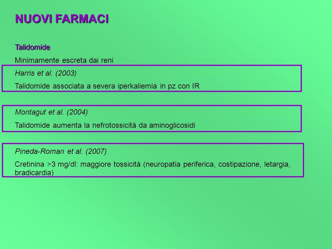 NUOVI FARMACI Talidomide Minimamente escreta dai reni Harris et al. (2003) Talidomide associata a severa iperkaliemia in pz con IR Montagut et al. (20