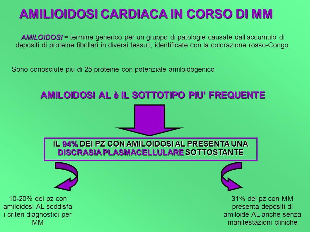 AMILIOIDOSI CARDIACA IN CORSO DI MM AMILOIDOSI AMILOIDOSI = termine generico per un gruppo di patologie causate dallaccumulo di depositi di proteine f