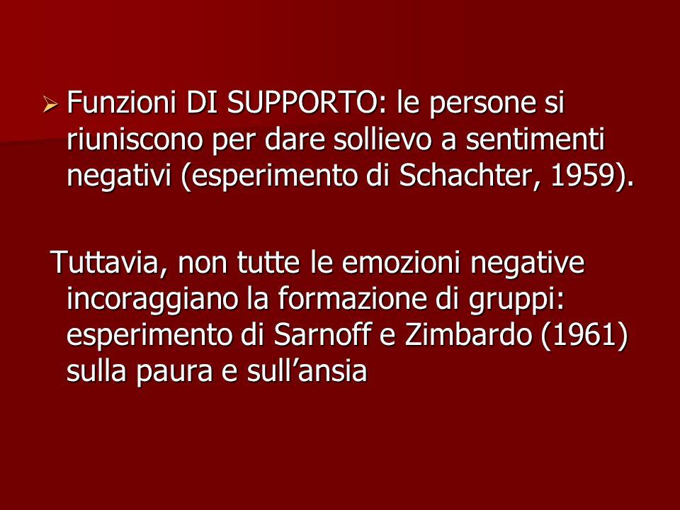 Funzioni DI SUPPORTO: le persone si riuniscono per dare sollievo a sentimenti negativi (esperimento di Schachter, 1959). Funzioni DI SUPPORTO: le pers