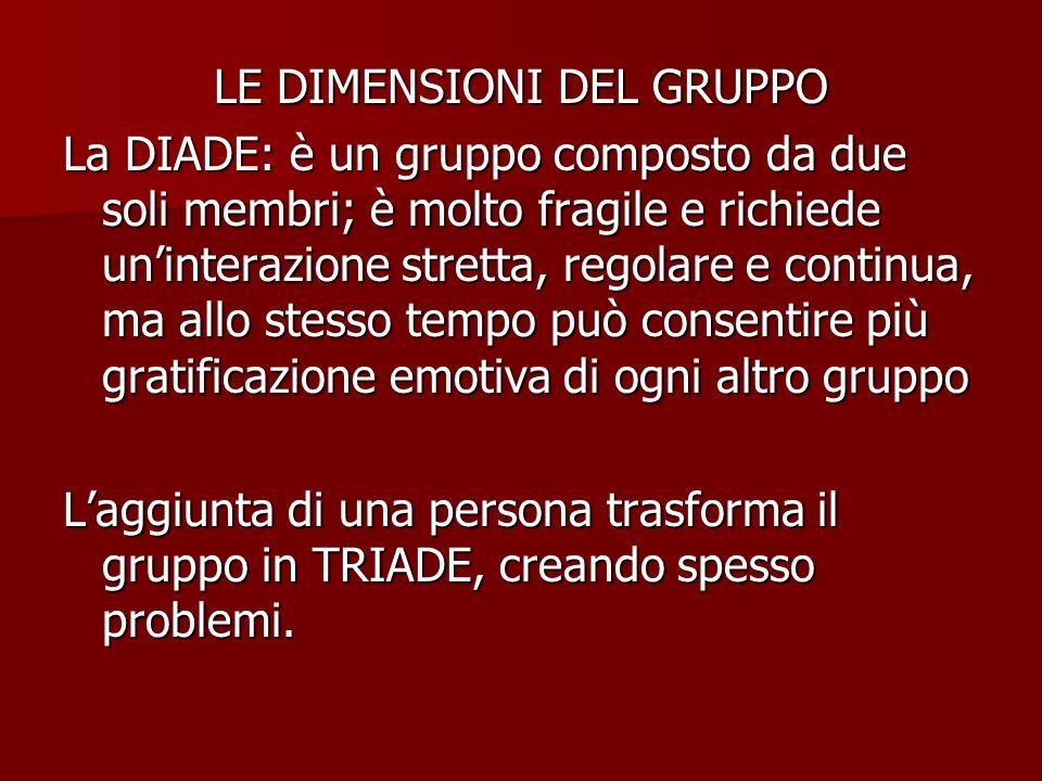 LE DIMENSIONI DEL GRUPPO La DIADE: è un gruppo composto da due soli membri; è molto fragile e richiede uninterazione stretta, regolare e continua, ma
