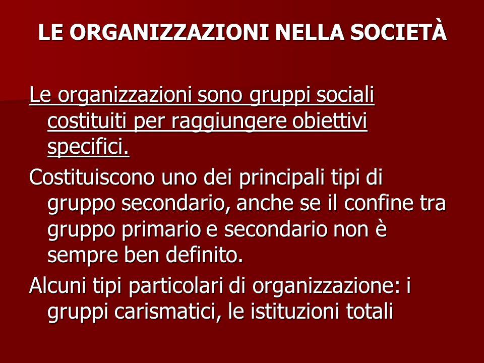LE ORGANIZZAZIONI NELLA SOCIETÀ Le organizzazioni sono gruppi sociali costituiti per raggiungere obiettivi specifici. Costituiscono uno dei principali
